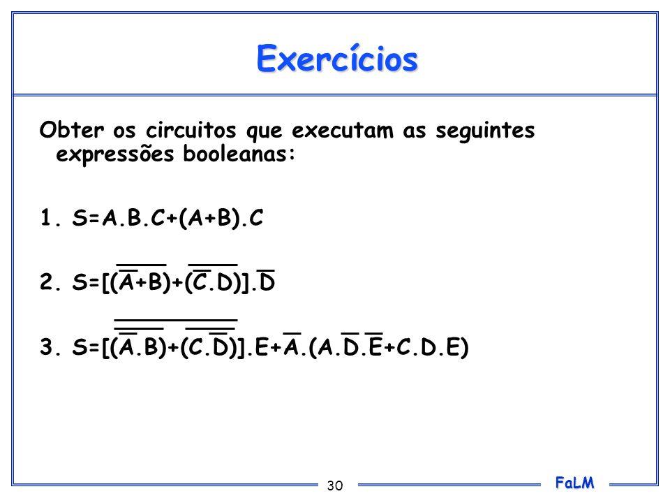 Exercícios Obter os circuitos que executam as seguintes expressões booleanas: 1. S=A.B.C+(A+B).C. 2. S=[(A+B)+(C.D)].D.